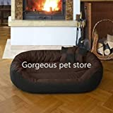 Gorgeous Quilted Reversible Ultra Soft Dual Sofa-Style Brown Black Dog Bed -Small