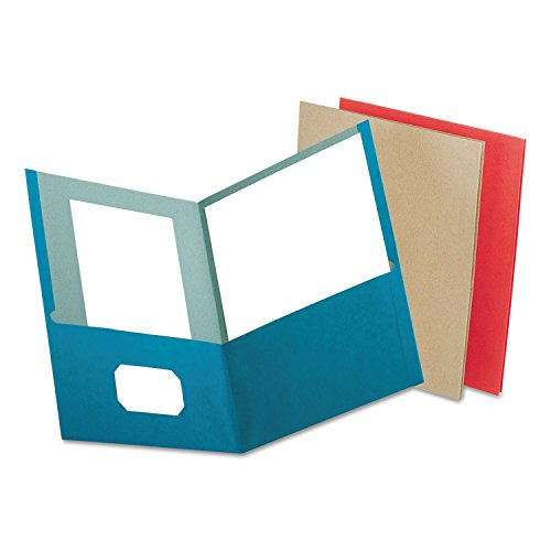 (Oxford 78513 Earthwise 100% Recycled Paper Twin-Pocket Portfolio, Assorted Colors, 25/Box)