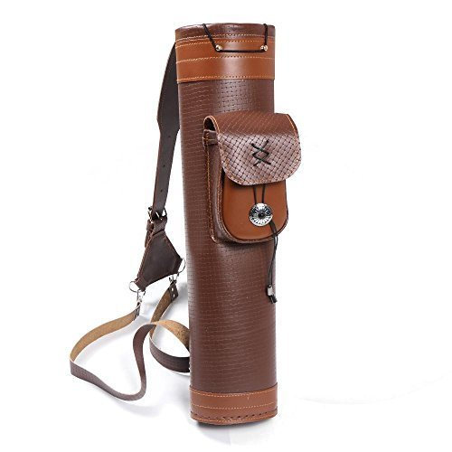 ery Shoulder Back Quiver Bow Genuine Leather Arrow Holder Brown Bag For Hunting Target ()