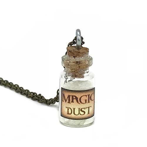 Steampunk Necklace Magic Fire Fairy Angel Dust Pendant Charm Glow in The Dark Kawaii White ()