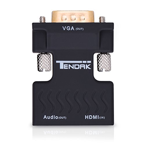 Tendak Active 1080P Female HDMI to VGA Male Converter Adapter Dongle with 3.5mm Stereo Audio Portable HDMI Connector for Laptop PC PS3 Xbox STB Blu-ray DVD TV Stick by Tendak (Image #1)