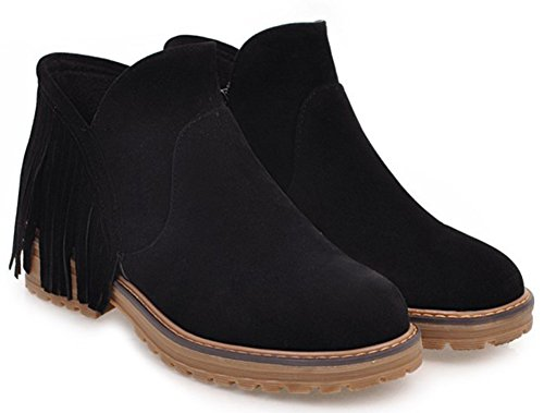 Ankle Aisun Booties Black Tassels Round Casual With Women's Toe xAAIz6