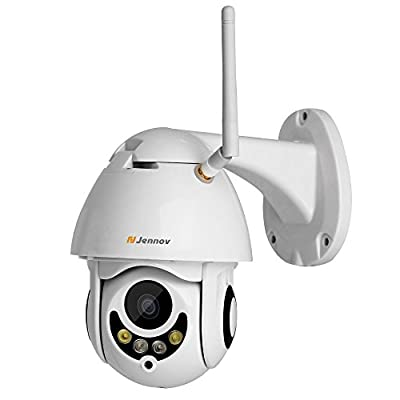 Jennov Wireless WiFi IP Security Camera, HD Wireless WiFi 1080P PTZ Security Camera Pan Tilt Zoom Outdoor Waterproof Bullet Home Surveillance Night Vision Pre-Installed 16G Card with 4X Zoom Lens by Shenzhen Dianchen Industrial Co.,Ltd