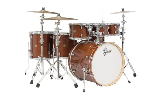 Gretsch (CM1E826PWG) 2014 Catalina Maple 7-Piece Rock Shell Pack and 22 Inch Kick with Free Additional 8 Inch Tom - Walnut Claze (Drum Bass Brackets Spur)