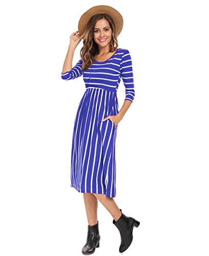 Women's Vintage Patchwork Pockets Striped Swing Casual Party Dress Blue,M, Blue ()