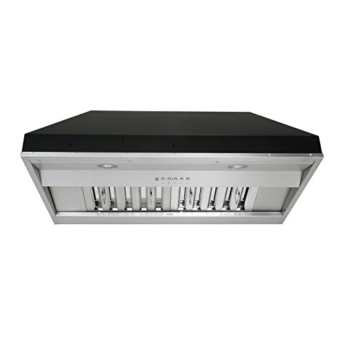 KOBE Range Hoods KOBE IN2636SQB-650-5A Deluxe 36″ Built-In/Insert Range Hood, 6-Speed, 700 CFM, LED Lights, Baffle Filters Inch, Stainless steel