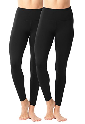 90 Degree By Reflex High Waist Power Flex Legging - Tummy Control Black 2 Pack - XS (Everyday Leggings)