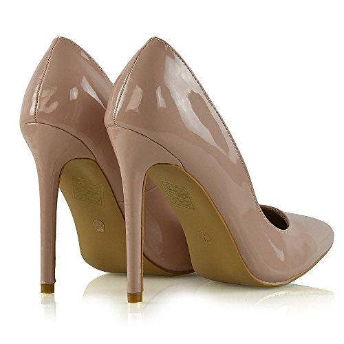 Le Donna Tacco Pompe Patentato Essex Formale Su Glam Scivolare Scarpe Finto Signore Carne Lavoro Stiletto 5xwEq0qaYg
