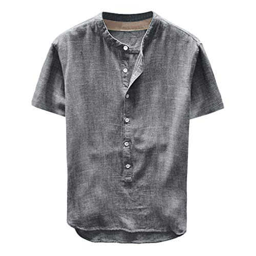 F_Gotal Men's Linen Shirts Short Sleeve Beach Tee Shirt Button Up Tops Cotton Lightweight Plain Mandarin Collar Blouses Gray