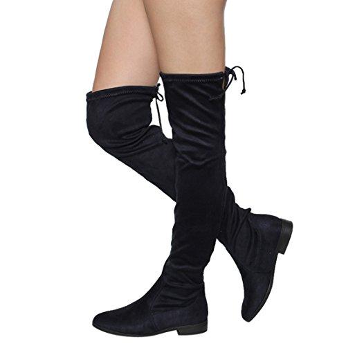 Beston FM33 Damen Stretchy Snug Fit Oberschenkel Hohe Kordelzug Block Heel Stiefel Marine