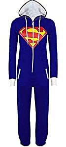 URAQT Unisex Batman Superman Print Hooded Zip Front All In One Piece Onesie Jumpsuit