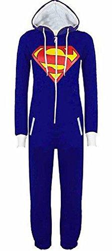 URAQT Unisex Batman Superman Print Hooded Zip Front All In One Piece Onesie Jumpsuit, Blue, (Superman Adult Onesie)