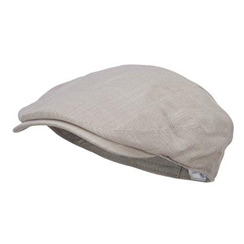 e4Hats.com Men's Linen Summer Ivy Cap - Beige M/L