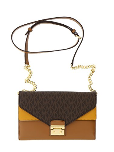 Michael Kors Sloan Large Envelope Wallet On A Chain Bicolor King Leather (Brn/acr/mrgl) by Michael Kors