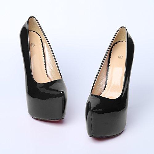 Noir pour escarpin marcher plateforme club OCHENTA 44 talon facilement pour haut plus Femme epais invisible adaptable soiree 35 aiguille taille sexy Rqn7gCWqP