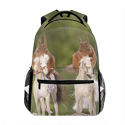 Riding Horse Squirrel Backpack For School Shoulder Daypack -