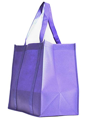 Gifts Convention - 5 Pack Heavy Duty Grocery Tote Bag, Lavender Color Large & Super Strong, Reusable Shopping Bags with Stand-up PL Bottom, Non-Woven Convention Tote Bags, Premium Quality (Set of 5, Lavender)