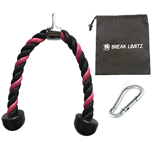 Break Limitz Pink Tricep Rope Pull Down | 27-inch Heavy Duty Nylon Rope, Chrome Cable Attachment and Durable, Non Slip End Caps| for Professional and Home Gyms | Includes Snap Hook and Carry Bag