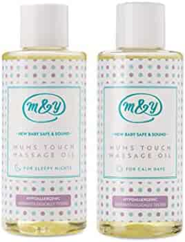 Mum & You New Baby Safe & Sound Mums Touch Massage Oils -Set of 2 Scents. Calm Days and Sleepy Nights. Made with Sunflower Seed Oil, Organic Jojoba, Organic Camomile, Rosemary and Leaf Extract.