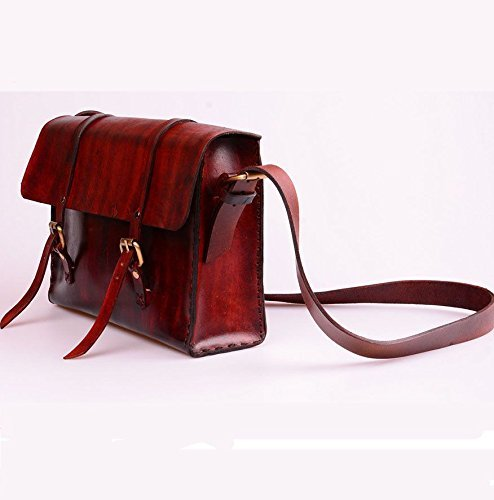 Burgundy Leather Handmade Unisex Messenger Bag by AnyLeatherDesigns