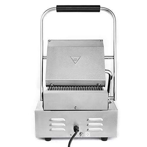 Happybuy Sandwich Press Grill 110V Panini Maker and Grill 1800W Commercial Panini Grill Durable Stainless Steel Construction with Adjustable Temperature Control Cooking Non Stick Surface Grooved Plates by Happybuy (Image #6)