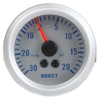 KKmoon Turbo Boost Vacuum Press Gauge Meter for Auto Car 2 52mm 0~30in.Hg//0~30PSI Blue LED Light