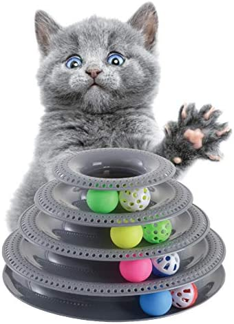 Pets Furst Cat Toys Interactive, Tower of Tracks Kitten Toys, 4 Balls with Bells, 4 Regular Balls, Modern Colors Available, Interactive Cat Toys, 1 Year Warranty 2