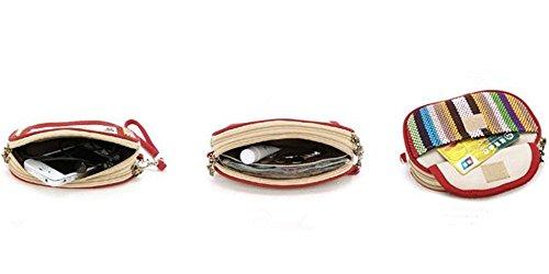 Téléphone Noir Style Sac ALL pour à Femme Multifonctionnel Vintage pour Couleurs en Folk Toile Main Pochettes Sac Bandoulière 5 custom 3 nRz6qYww