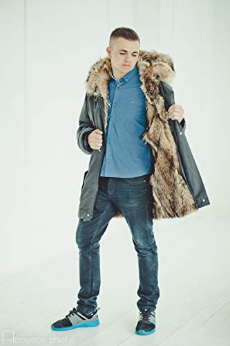 02eaeb8f558 Amazon.com: Coyote fur parka - Mens long coat Winter jacket: Handmade