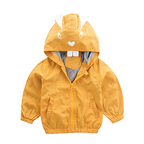 Wenjuan Toddler Kids Unisex Jacket Rabbit Baby Outerwear Coat Autumn Hooded Trench Windbreaker Clothes (100) ()