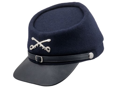 (Sterkowski Genuine Leather Secession Kepi Civil War Cap US 6 3/4 Navy Blue)