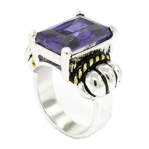 2 Tone Amethyst Ring (2-tone Designer-Inspired Solitaire Ring w/Amethyst CZ Size)