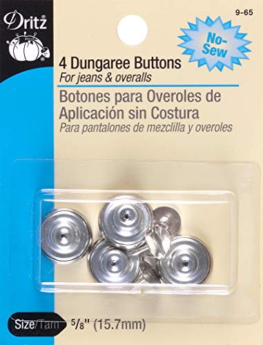 - Dritz 9-65 No-Sew Dungaree Buttons, Nickel, 5/8-Inch 4-Count