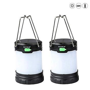 Expower 2 unidades Solar batería LED Linterna 3 modos de brillo 80 lúmenes resistente al agua IPX5 para senderismo Loft cobertizo Cortes de Energía: ...