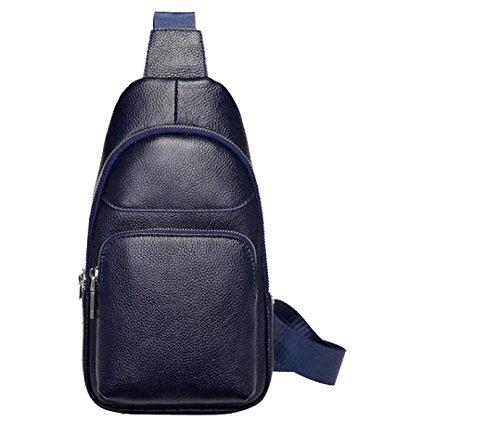Yy.f Bolsa Nuevos Bolso De Los Hombres Bolso Ocasional Impermeable Paquete Diagonal De Los Hombres La Primera Capa De Cuero Hombre Bolsa De Pecho Negro Blue