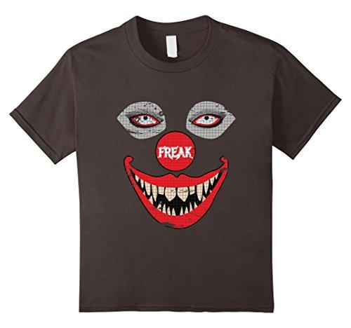 Kids Creepy Clown TShirt - Scary Clown Face Spooky Freaky Tee 10 Asphalt