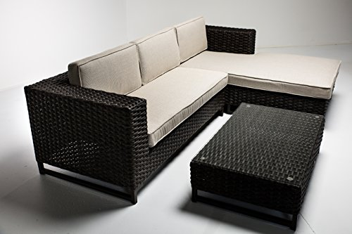 Sunbrella Padded Outdoor Wicker 3-Piece Sofa Set - Aluminum Frame and UV Coated Wicker (Patio Furniture Lloyd)