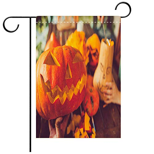 BEICICI Artistically Designed Yard Flags, Double Sided Man Carving Spooky face on a Pumpkin in Halloween Decorative Deck, Patio, Porch, Balcony Backyard, Garden or Lawn ()