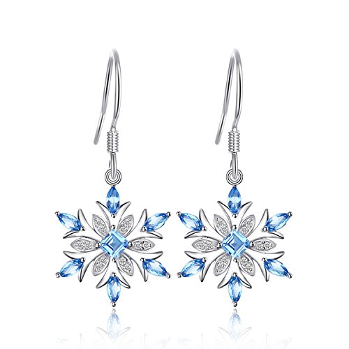 Snowflake Earrings - JewelryPalace Snowflake 1.4ct Genuine Swiss Blue Topaz Dangle Earrings 925 Sterling Silver