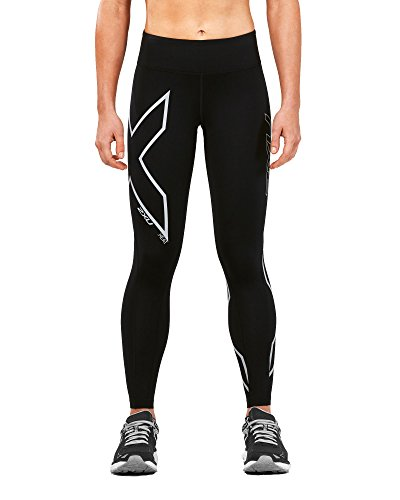 Running Apparel. 2XU Women's Heat Mid-Rise Compression Tights, Black/Silver Reflective, X-Large. #running