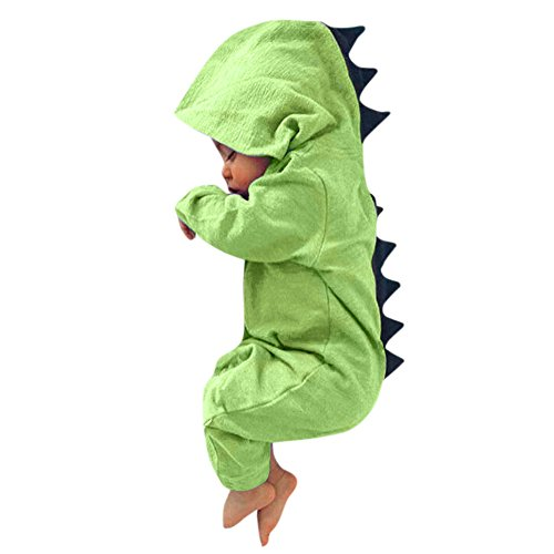Yamally_9R_Unisex Rompers Baby Dinosaur Hooded Jumpsuit Newborn Baby Boys Girls Cartoon Dinosaur Hoodie Romper (0-3 Months, Green #2) -
