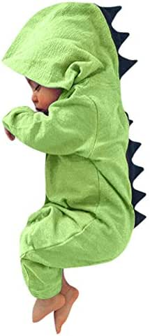Newborn Baby Boy Girl Cute Dinosaur Hooded Romper Jumpsuit Clothes