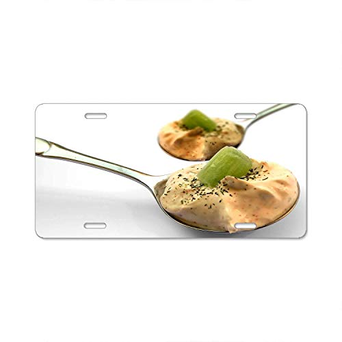 YEX Abstract Kiwi Slice On Brown Cream On Stainless Steel Spoon License Plate Frame Car Licence Plate Covers Auto Tag Holder 6