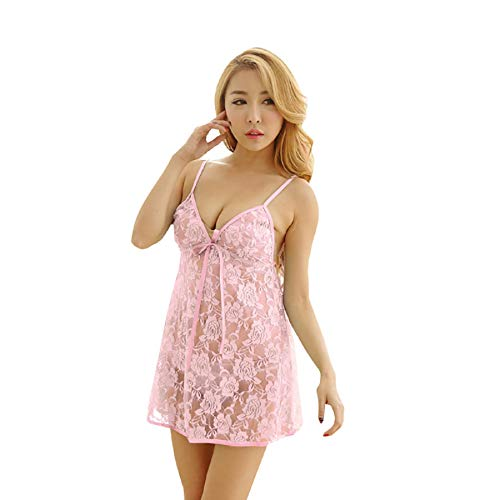 Fuumiol Women's Pajama Set,Women Sleepwear Satin Pajamas Set Lace Shorts Nightwear Pink