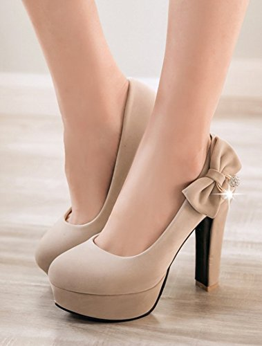 Aisun Femmes Coupe Étroite Élégante Bout Rond Slip Sur Chunky Talons Hauts Robe Plate-forme Pompes Chaussures Avec Des Arcs Beige