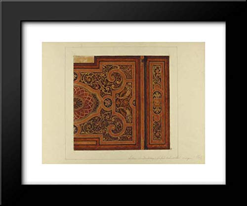 Jules-Edmond-Charles Lachaise - Eugene-Pierre Gourdet - 24x20 Framed Museum Art Print- Intarsia Ceiling Design for The Dining Room, Chateau de Deepdene