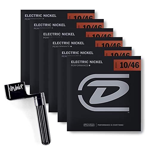 6 Packs of DEN1046 Electric-Nickel MEDIUM Strings (6/Set 10-46) w/ String -