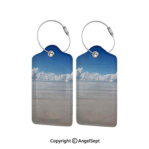 Waterproof PU Leather Luggage Tags Options Soft and Comfortable No Scratching,Magical Sea to Sky View with Clouds Nature Exotic Beach in South Asia Paradise Hot 2 PCS Blue White Cream,for Baggage/Sui (9 Beach Bar Long Cloud)