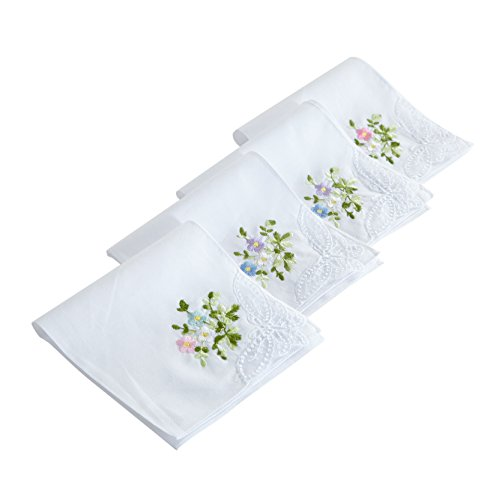 HANKYTEX Cotton Embroidery Ladies' Handkerchiefs Lace Set of 6 (set 001)