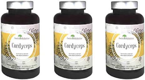 Aloha Medicinals - Pure Cordyceps - Certified Organic Mushrooms – Cordyceps Militaris – Cordyceps Sinensis - Supports Immunity, Energy and Stamina - 525mg - 90 Vegetarian Capsules (3 Pack)